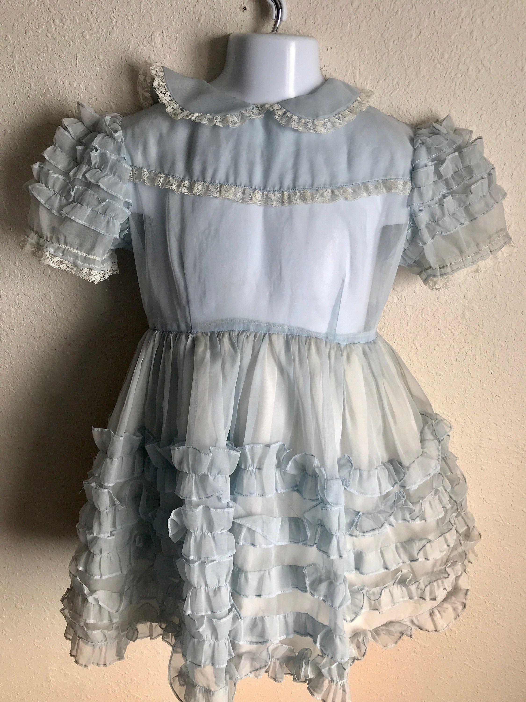 Blue Ruffles Galore Vintage 1950s Girls Ruffled Chiffon Etsy Chiffon Party Dress Chiffon Ruffle Dresses [ 3000 x 2250 Pixel ]