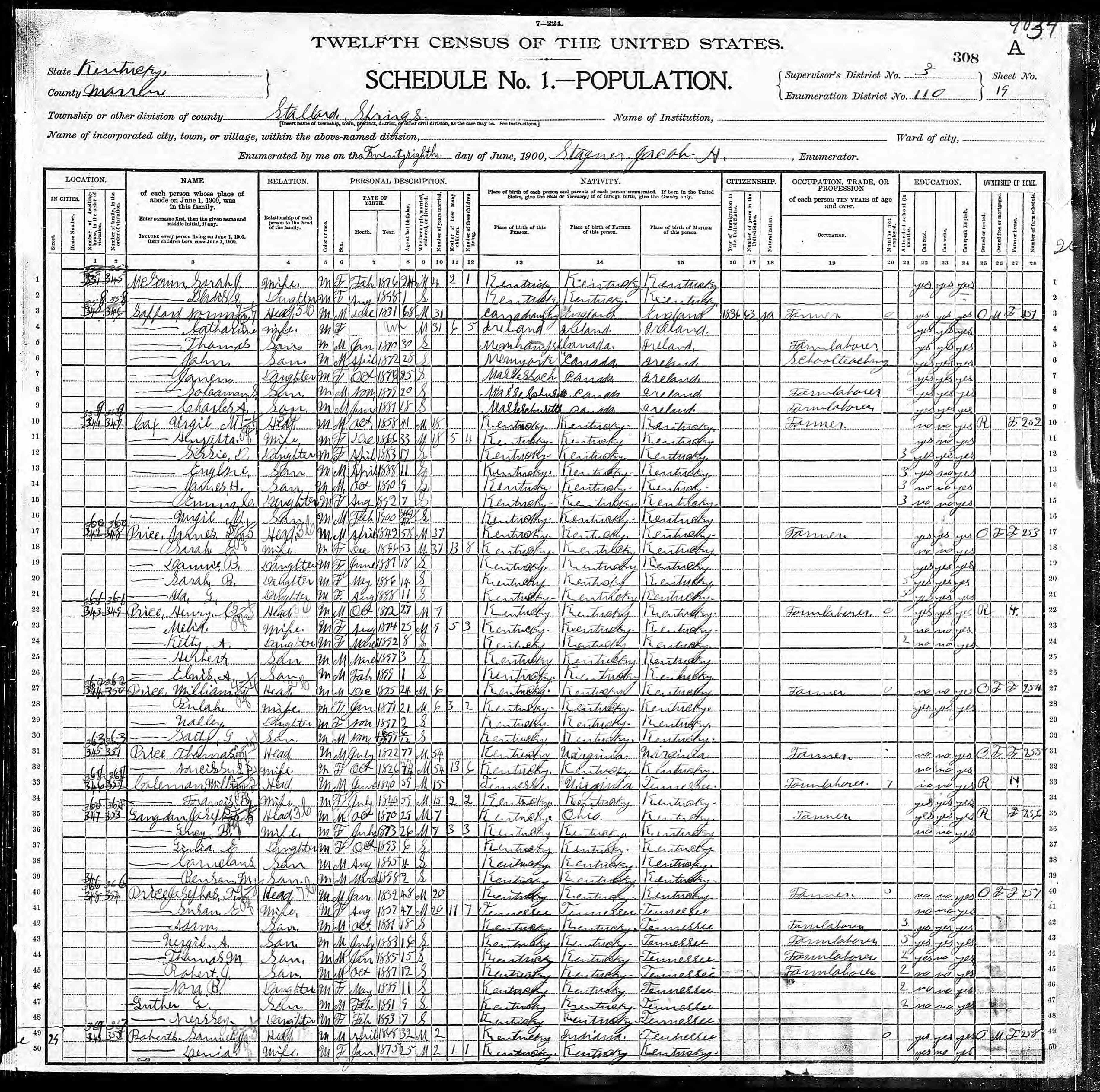 William Price discovered in 1900 United States Federal