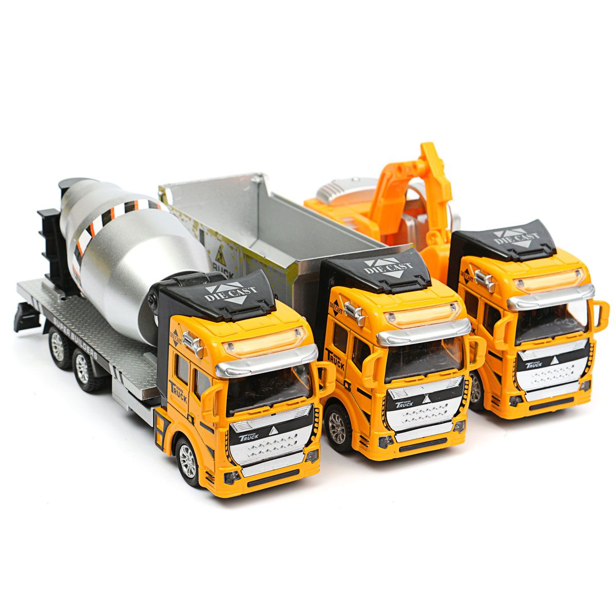 Children Model Pullback Digger Excavator Construction Vehicle Trucks Vans Toy
