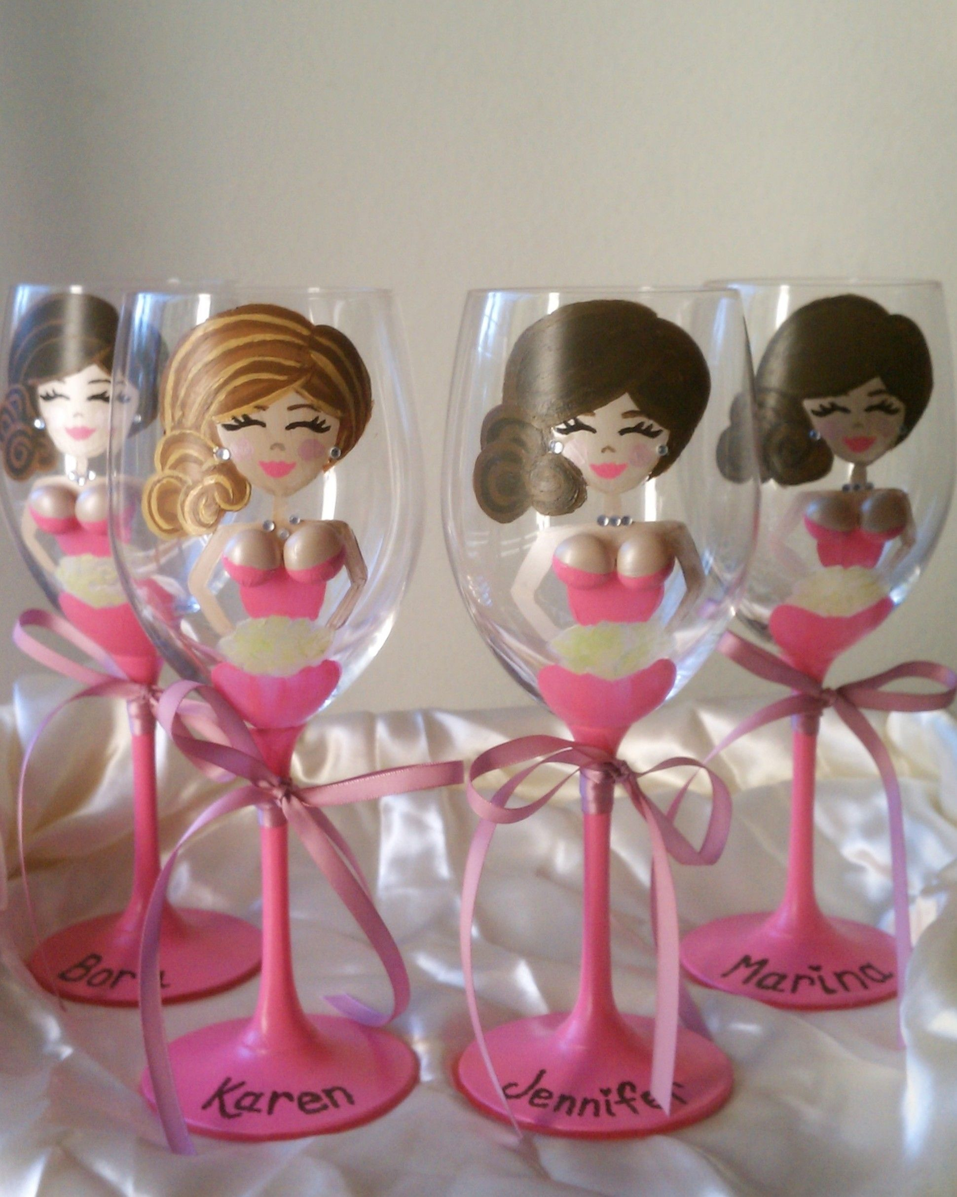 How to decorate wine glasses for bridesmaids - Personalized Boob Bridesmaid Wine Glasses By Glass Bellas