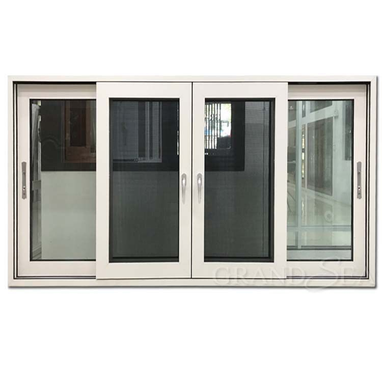 Thermal Break Double Glazed Aluminum Alloy 4 Panel Sliding Glass Windows In 2020 Sliding Window Design Sliding Glass Windows Window Glass Design