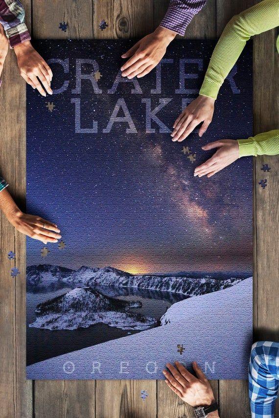 Crater Lake National Park, Oregon - Milky Way over Lake (20x30 Premium 1000 Piece Jigsaw Puzzle, Mad #craterlakenationalpark
