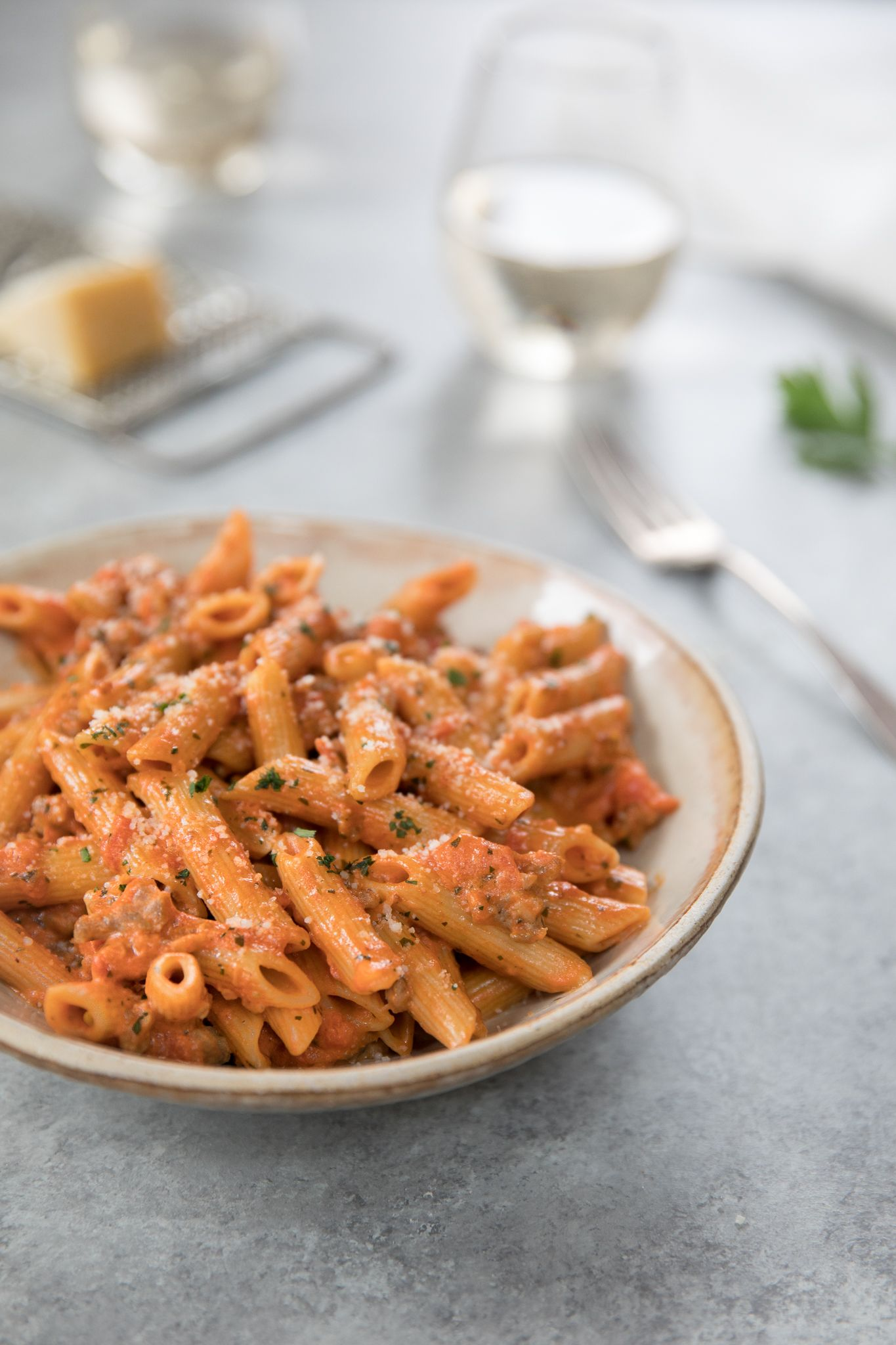 Penne with Sausage and Tomato Cream Sauce #tomatocreamsauces