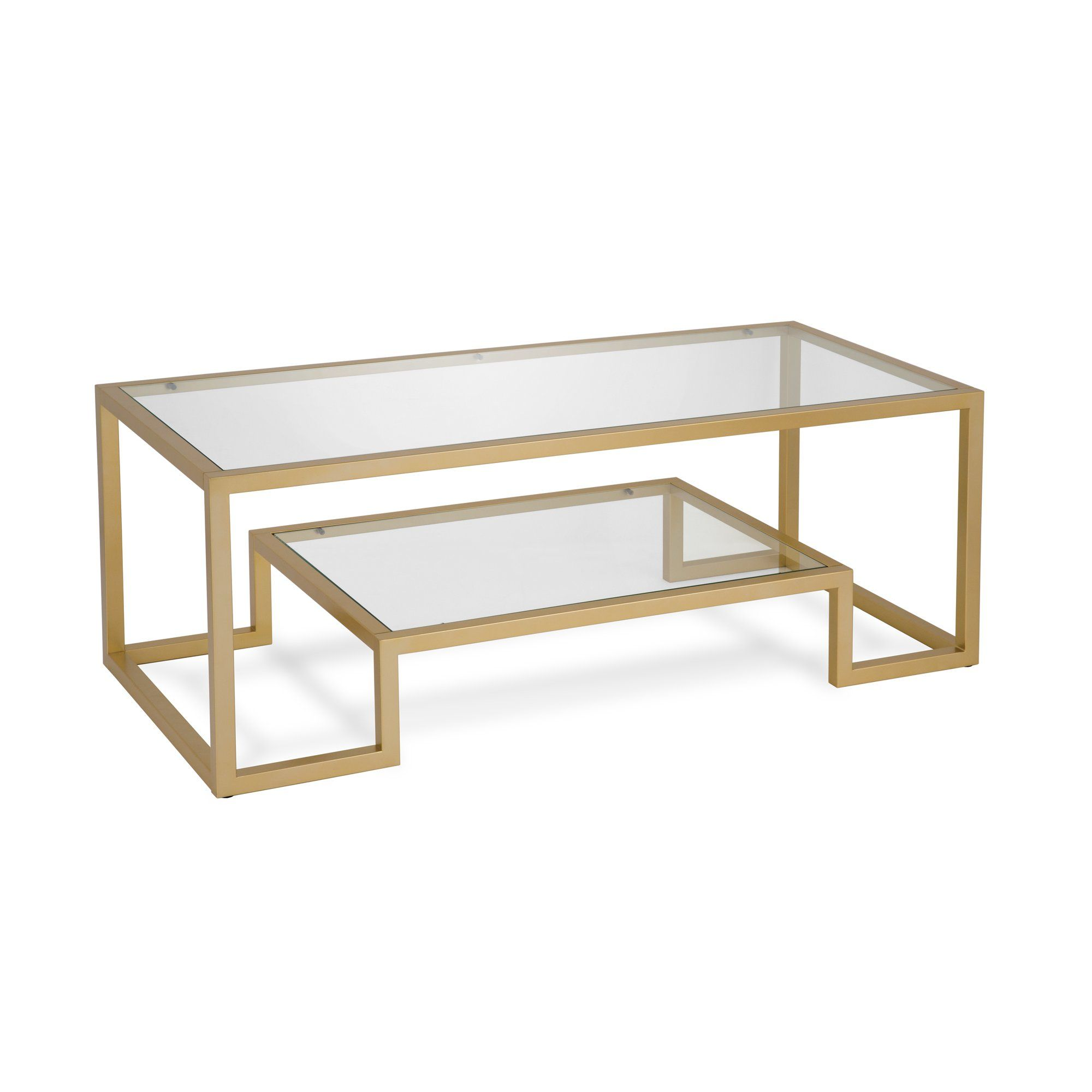Evelyn Zoe Contemporary Coffee Table With Glass Top And Shelf Walmart Com In 2021 Gold Glass Coffee Table Geometric Coffee Table Coffee Table [ 2000 x 2000 Pixel ]