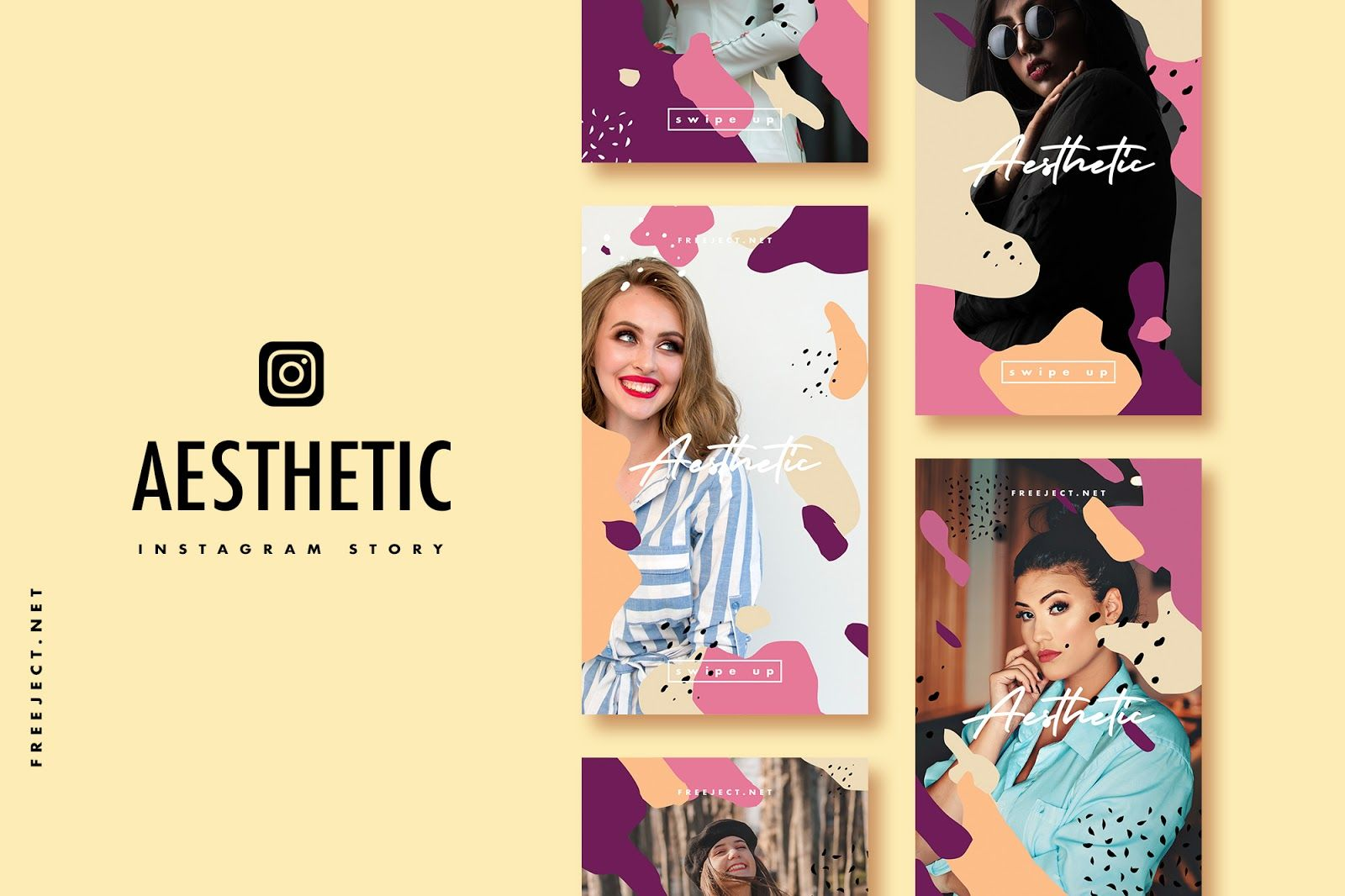 Free Download Aesthetic Shape Instagram Story Template Psd File Free Instagram Instagram Story Template Instagram Story