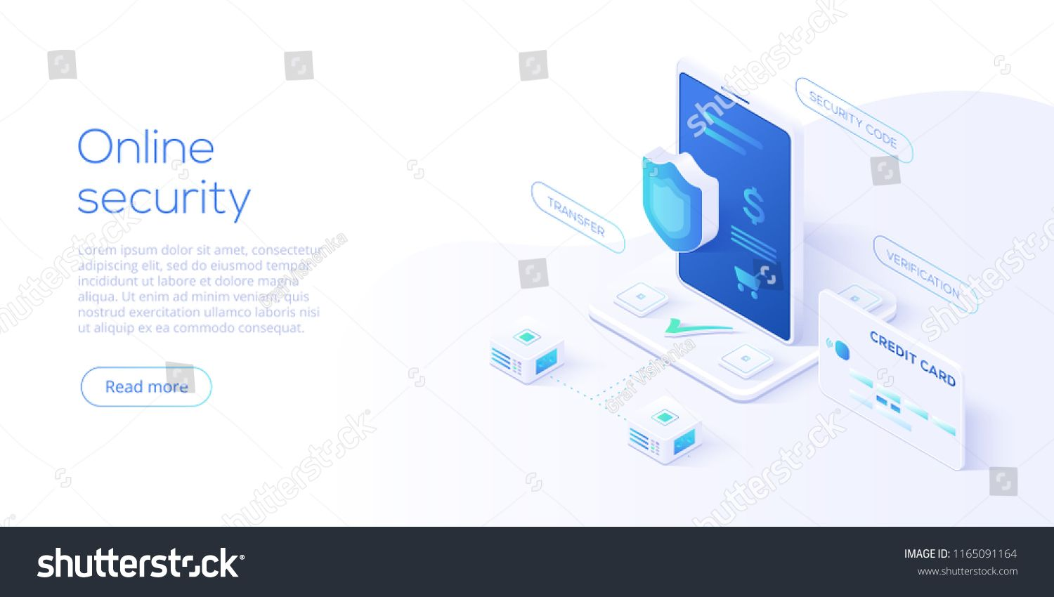 Mobile Data Security Isometric Vector Illustration Online Payment