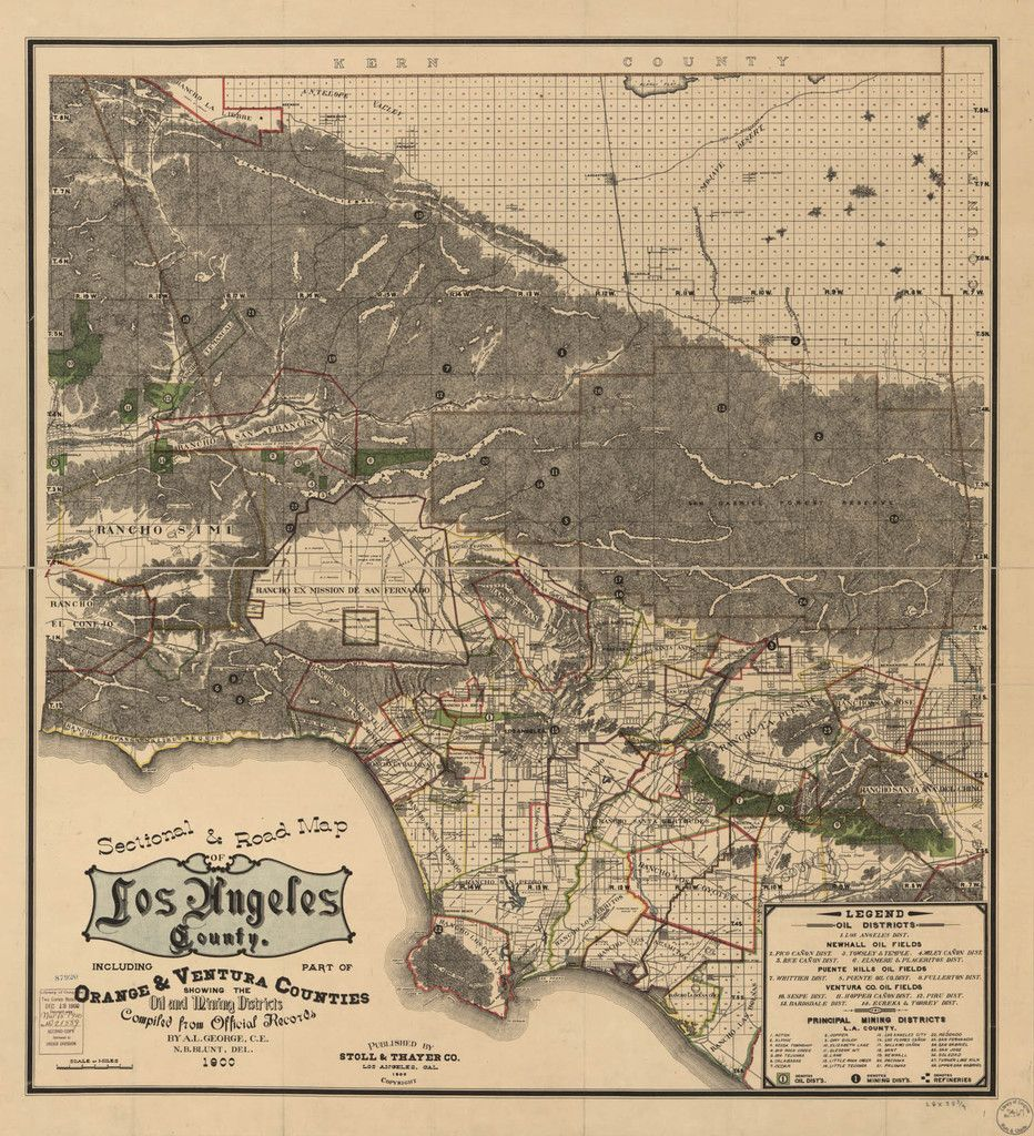 Vintage Map Sectional Road Map Of Los Angeles County Including Part Of Orange And Ventura Counties Showing The Oil Old Map Historical Maps California Map