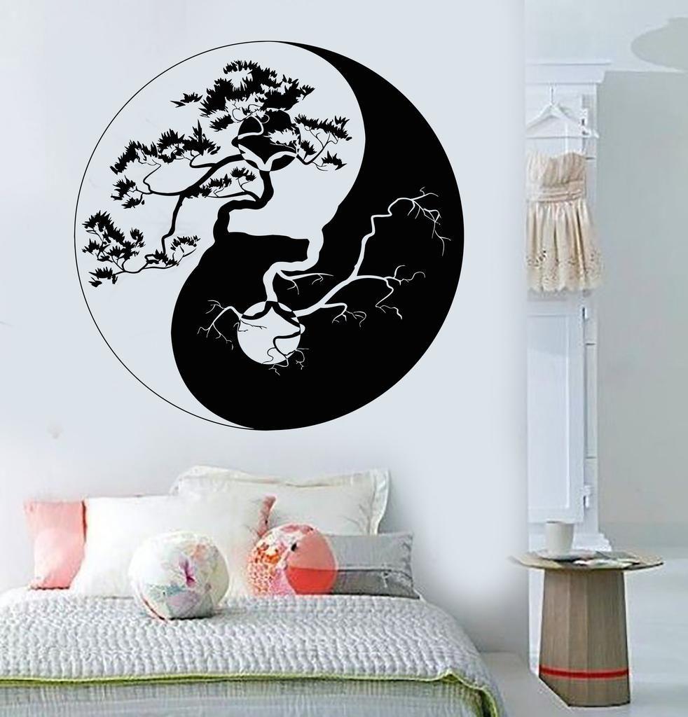 Vinyl Wall Decal Yin Yang Tree Zen Asian Style Stickers Mural - Zen wall decalsvinyl wall decal yin yang yoga zen meditation bedroom decor