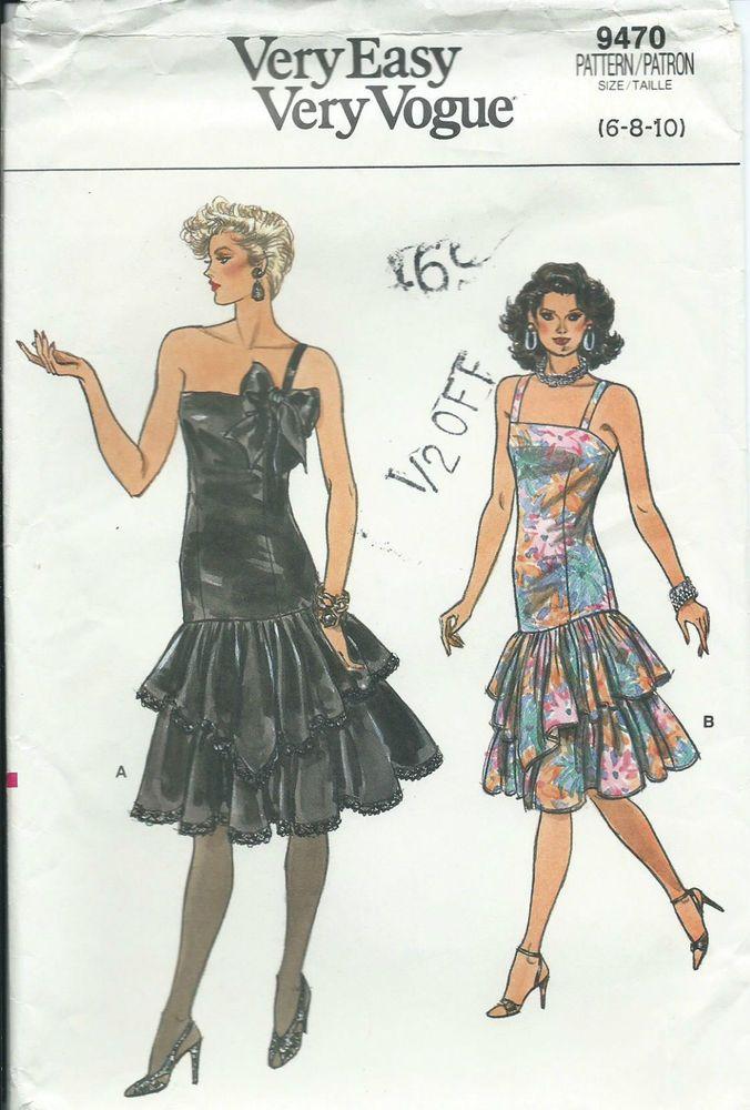 Vogue 9470 Sewing Pattern Fancy Ruffled Dress Prom Disco Dance Sew