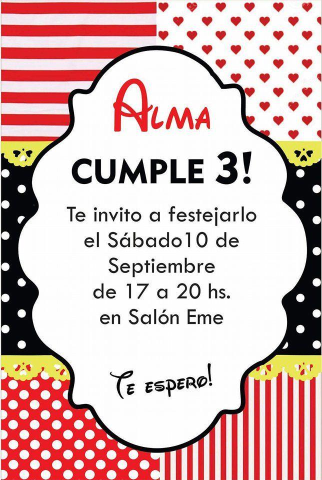 Invitación Tarjeta Minnie Roja Birthday Cumple Cumpleaños