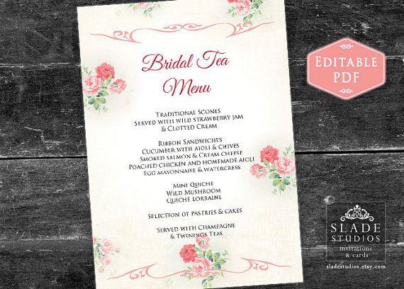 Pink Drinks Menu Templett Wedding Menu Editable pdf DIY Printable Decorations Baby Shower Menu INSTANT DOWNLOAD Food