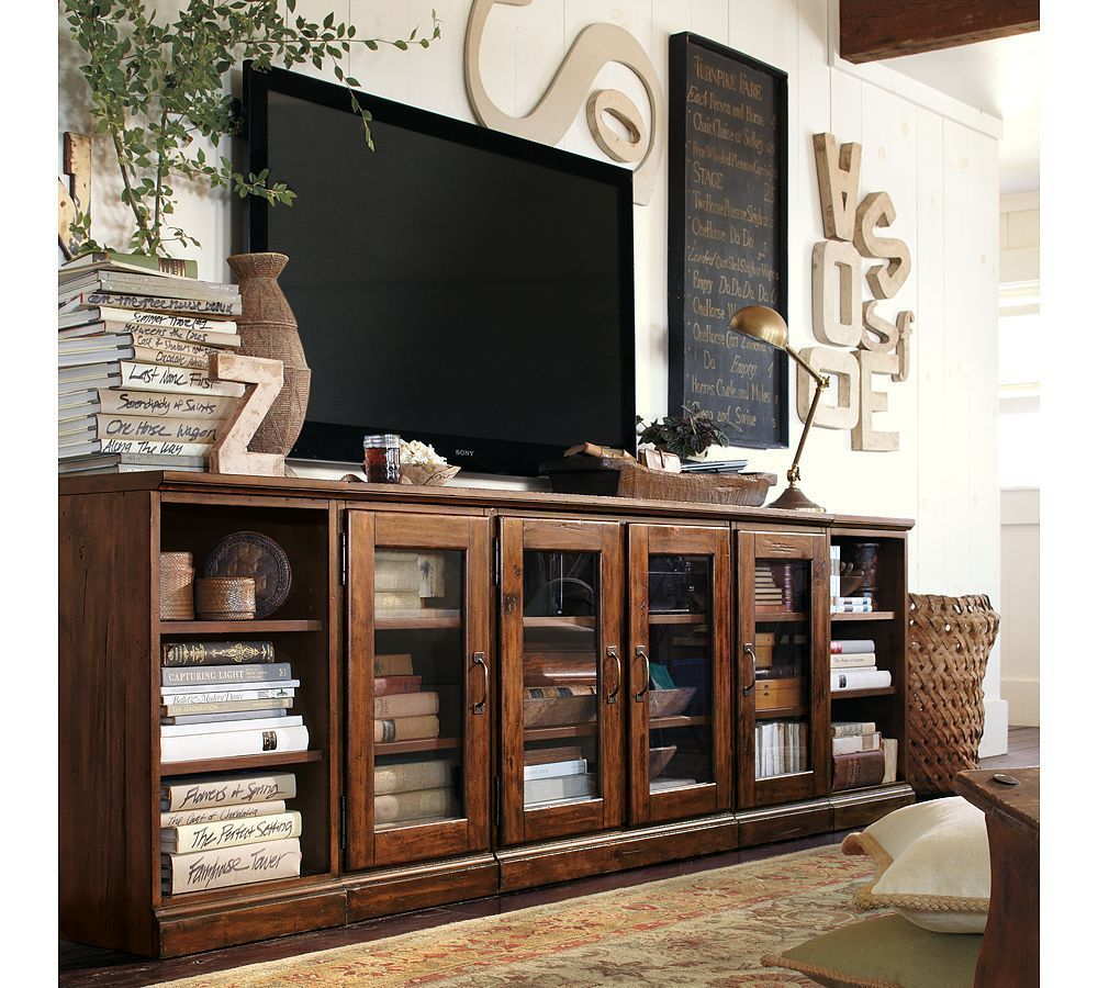 Printers Media Suite - Pottery Barn ( Wood Classic Brown Glass Media ...