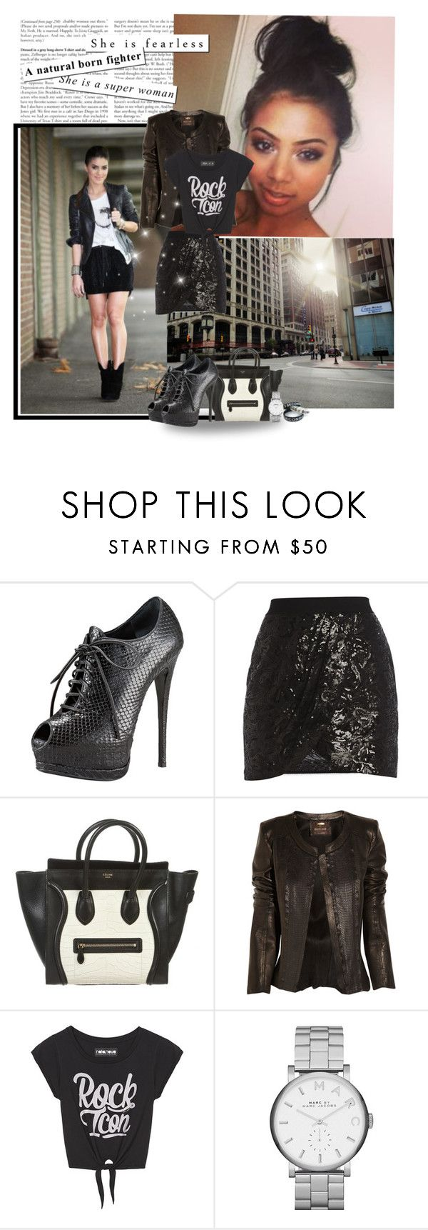 """""""leather & sequin"""" by priscilla12 ❤ liked on Polyvore featuring Giuseppe Zanotti, BCBGMAXAZRIA, CÉLINE, Roberto Cavalli, Marc by Marc Jacobs, women's clothing, women, female, woman and misses"""