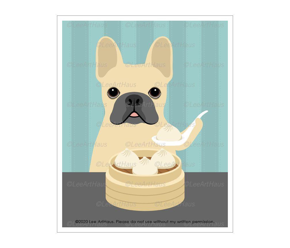 863d Kitchen Print French Bulldog Eating Dumpling Wall Art Dim