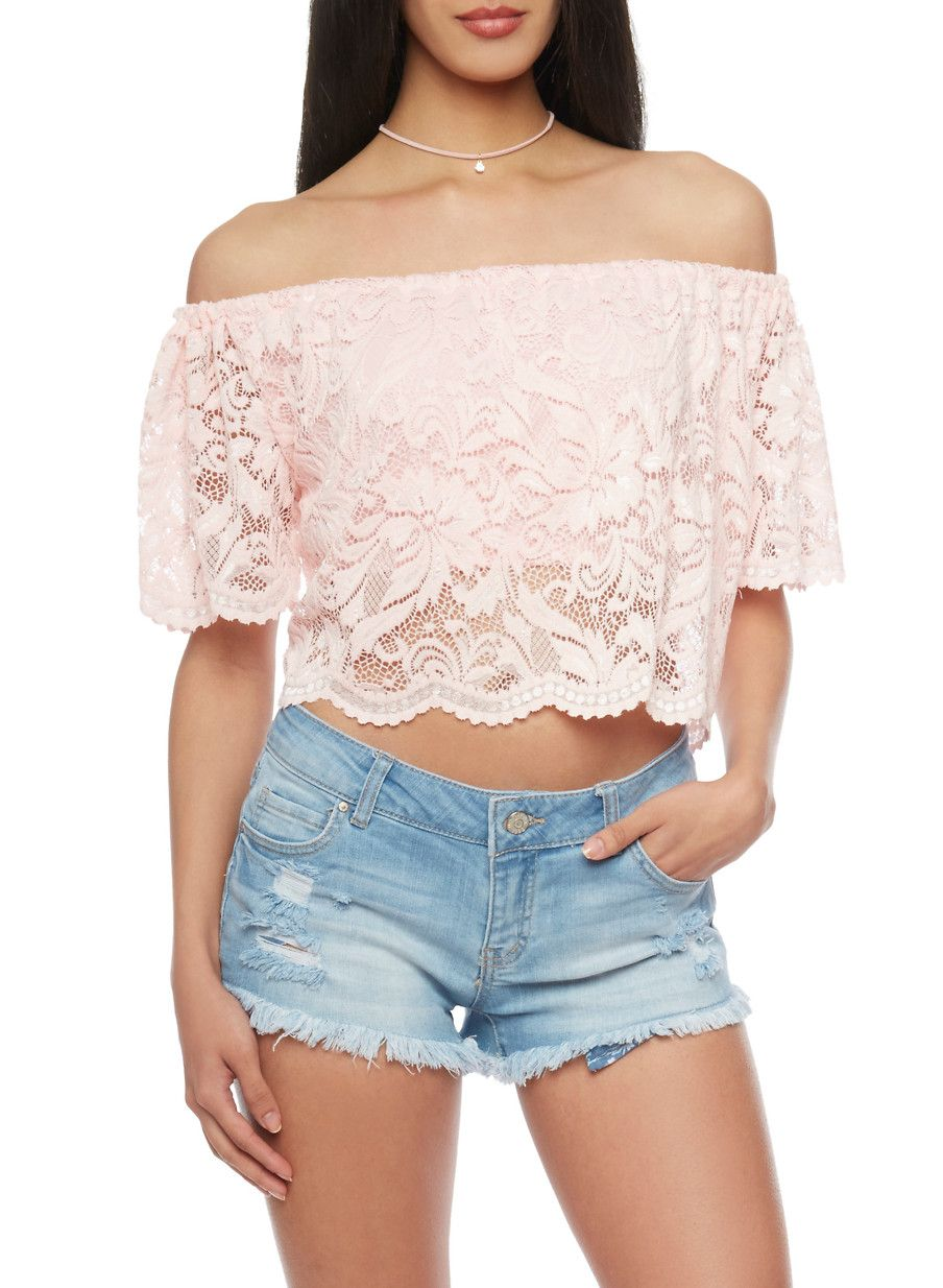 a87e2d4833620 Off Shoulder Lace Crop Top - Pink - Size M
