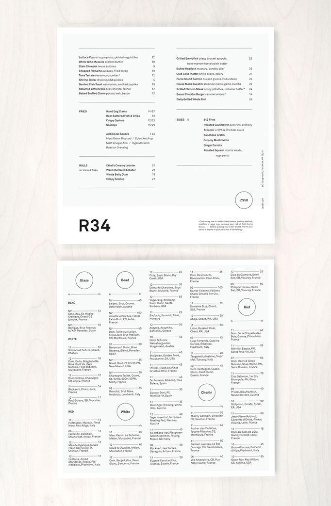 menu design for Row 34 / black and white, type-driven design