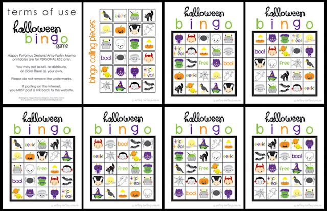 Halloween bingo - good for at home or class parties