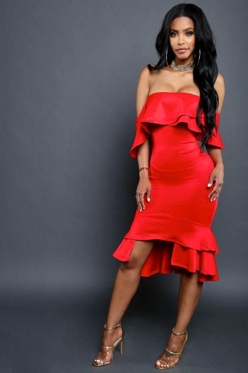 Flirty off shoulder ruffle midi dress red products pinterest