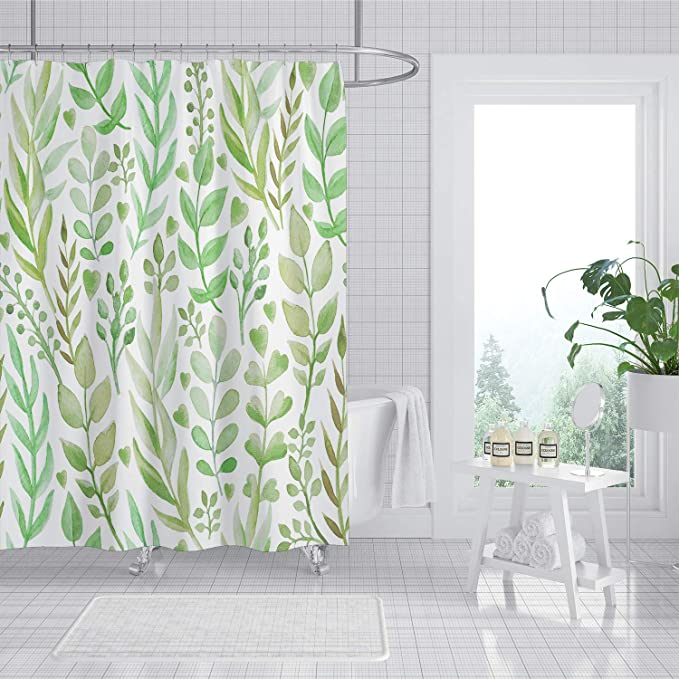 Amazon Com Joysog Leaf Shower Curtain Spring Botanical Plant