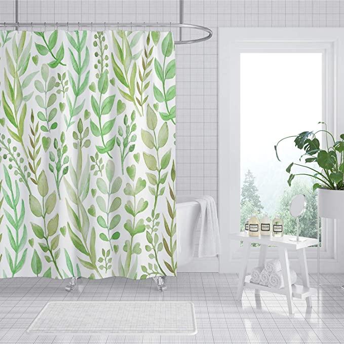 Amazon Com Joysog Leaf Shower Curtain Spring Botanical Plant Leaves Shower Curtains For Bathroom Water Resistan In 2020 Curtains Plant Leaves Water Resistant