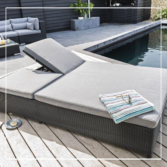 bain de soleil double lit en rotin miranda terrasses balcons pinterest outdoor et home. Black Bedroom Furniture Sets. Home Design Ideas