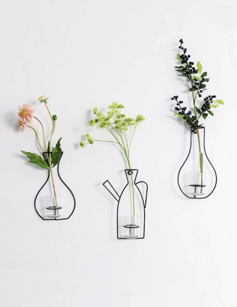 Iron Flower Vase Wall Decor Etsy In 2020 Hanging Wall Vase Wall Vase Flower Vases