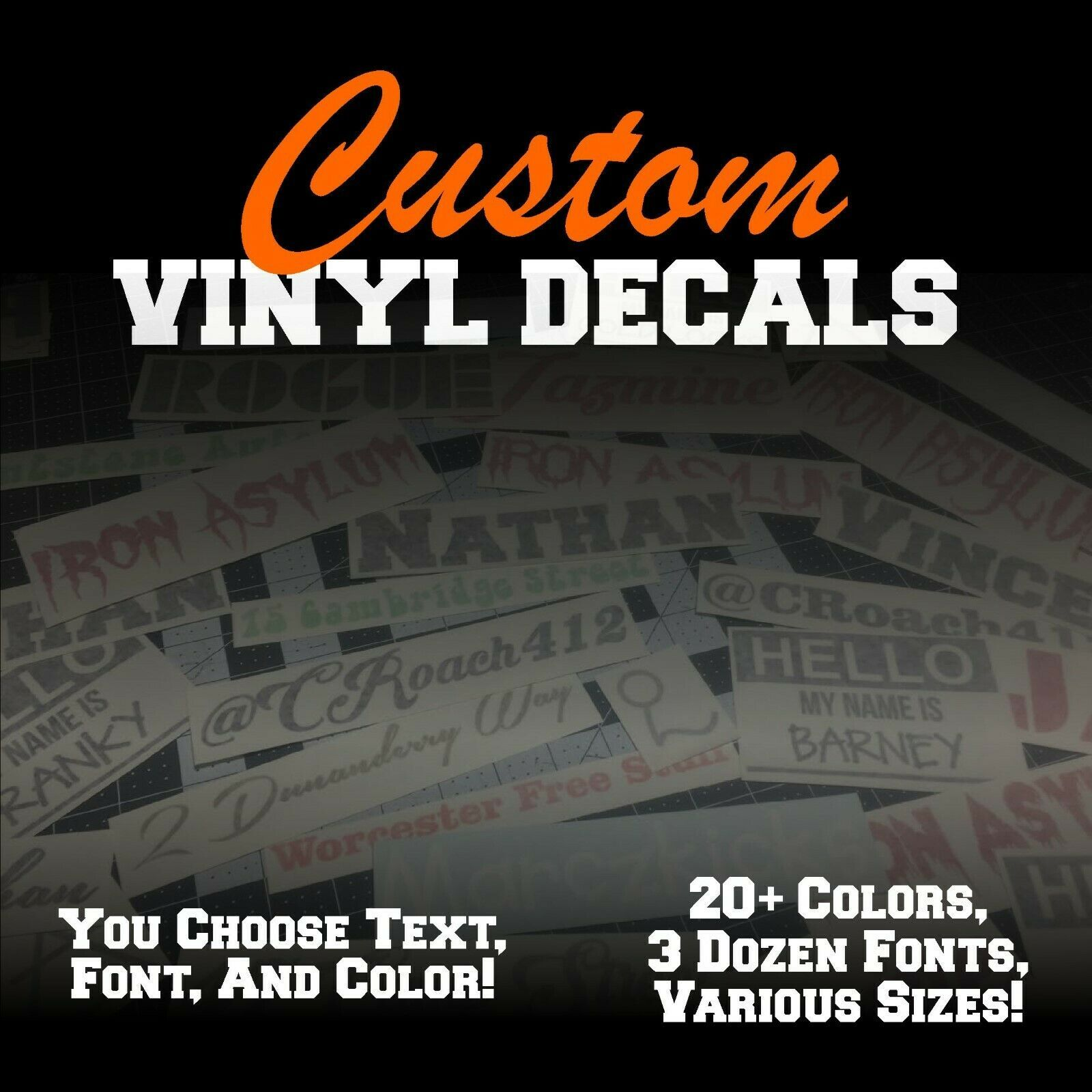 Car Sticker Decal Personalized Wall Window CUSTOM VINYL LETTERING//TEXT