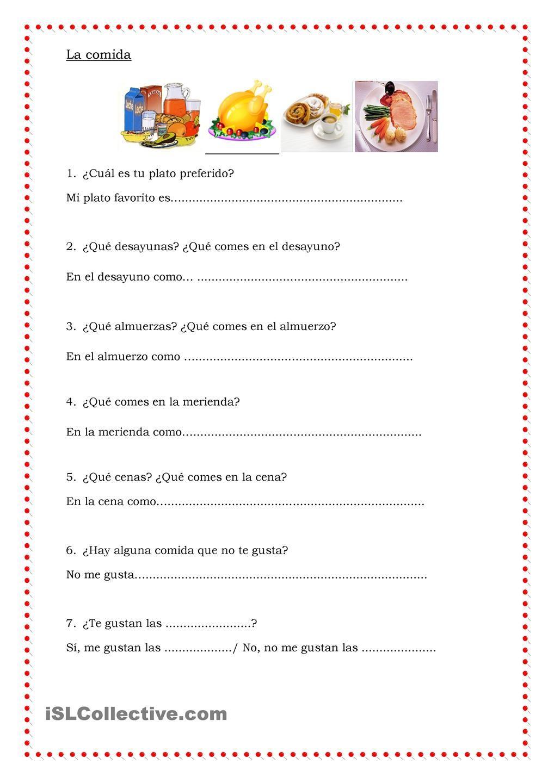 La comida comida y restaurante pinterest spanish teaching la comida robcynllc Image collections