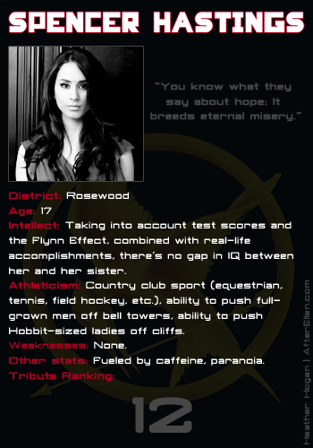What would happen if the Pretty Little Liars went in the Hunger Games? Spencer Hastings score card.