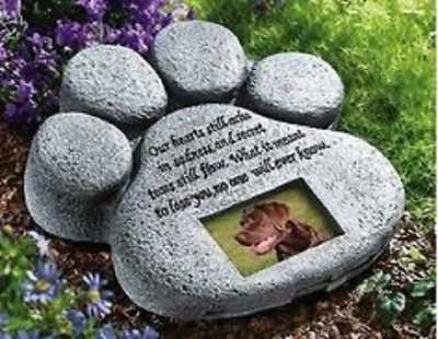 Pet Paw Photo Frame Grave Marker Dog Cat Memorial Tombstone ...
