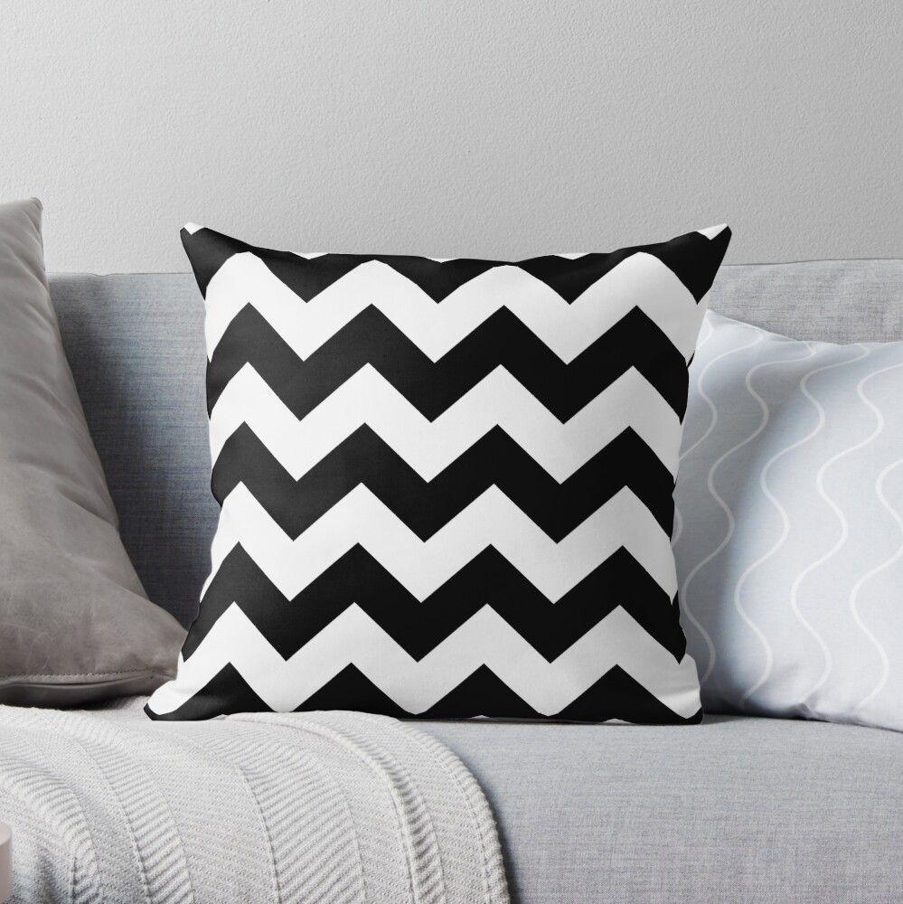 'Black And White Chevron Stripes' Throw Pillow by