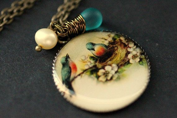Teal Bird Nest Necklace. Bird Family Pendant with Wire Wrapped Teal Teardrop and Fresh Water Pearl. Bird Jewelry. Handmade Pendant. by StumblingOnSainthood from Stumbling On Sainthood. Find it now at http://ift.tt/2n7CZhy!