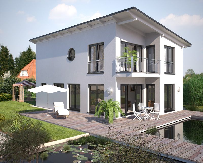 Hommage 136 Pultdach Gartenseite --> Zahlreiche Bauhaus Wohnideen