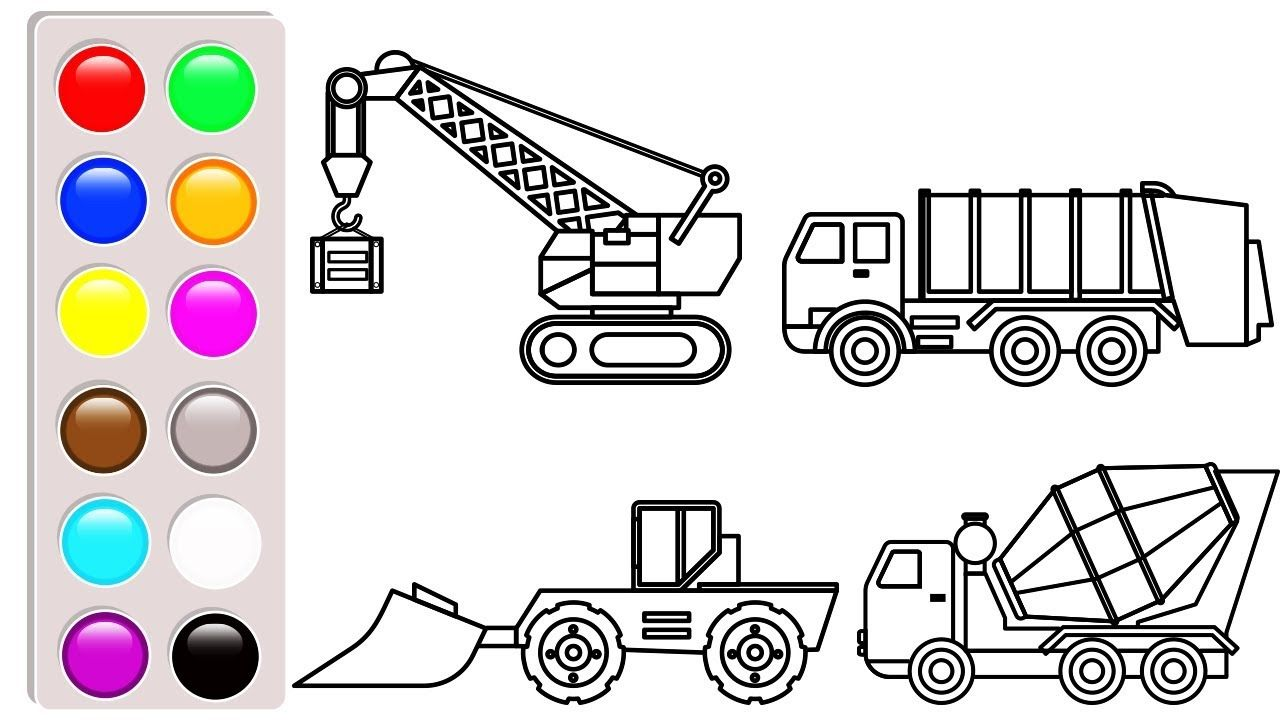 Learn Colors With Construction Truck Bulldozer And Crane Truck