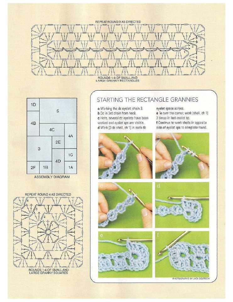 Granny and rectangular granny ♥LCF♥ with diagram | Patrones de ...