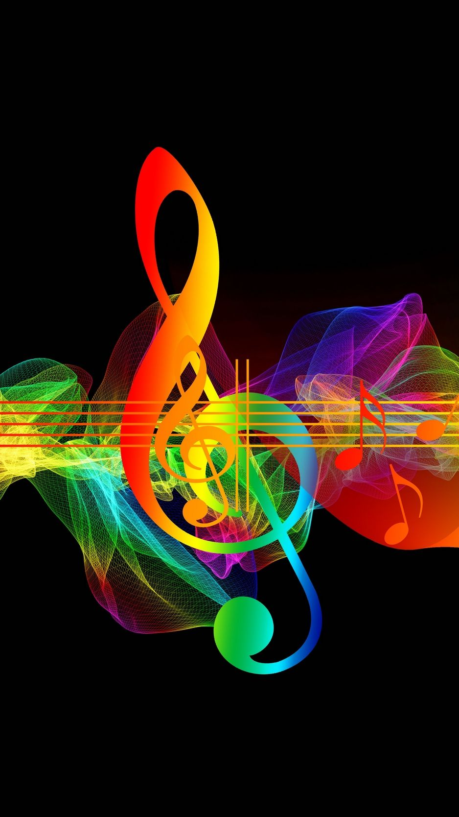 Treble Clef Musical Notes Multicolored Rainbow Wallpaper Music Notes Art Music Wallpaper Rainbow Wallpaper