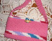 Pink Cotton Crochet Purse/Handbag