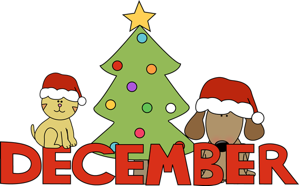 December Calendar Art Kindergarten : Month of december christmas pets clip art