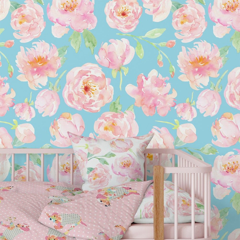 Aqua Blue Pink Floral Nursery Wallpapers Girl Watercolor