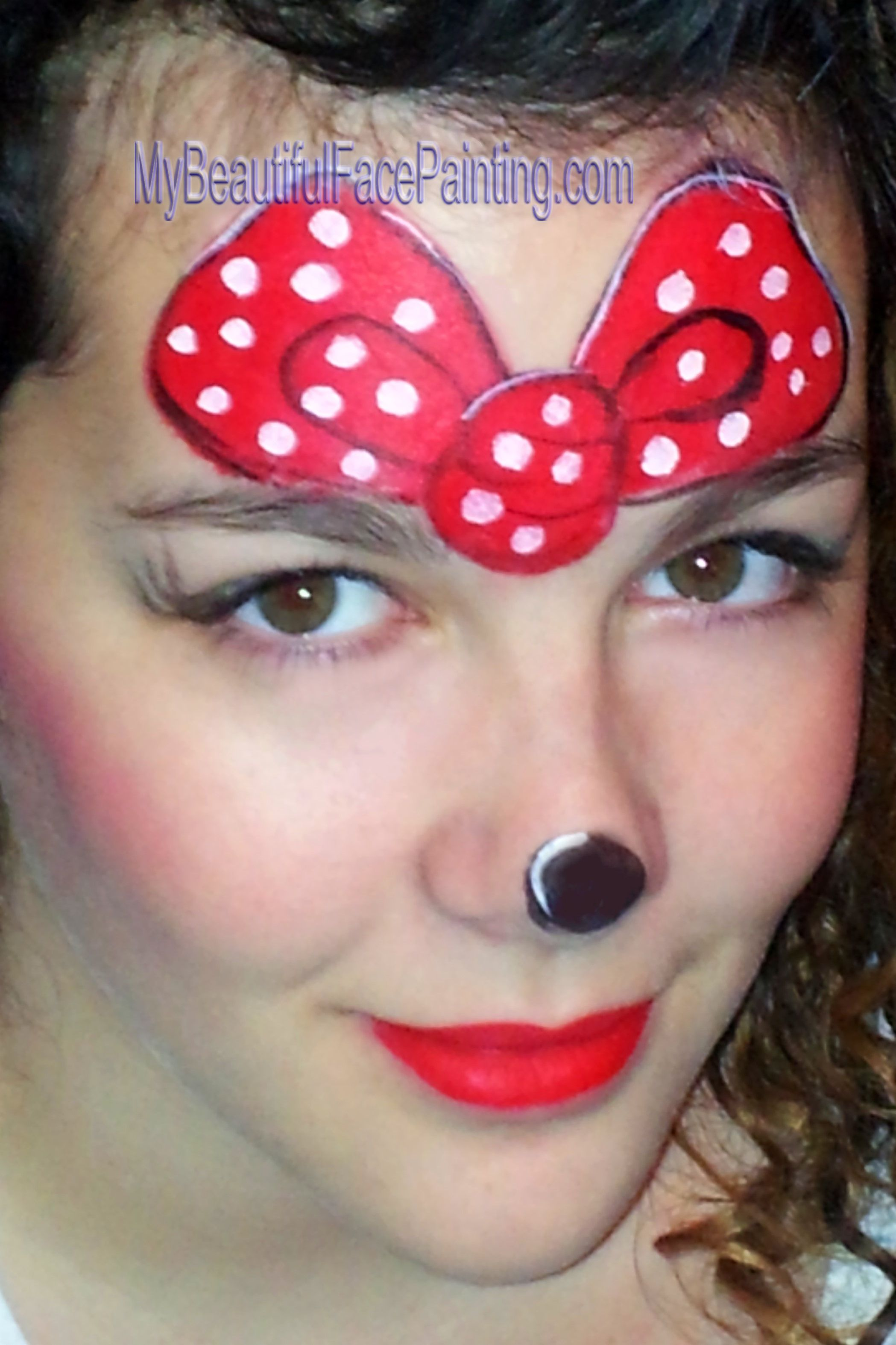 Minnie Mouse cute girl face paint | Girl face painting ...