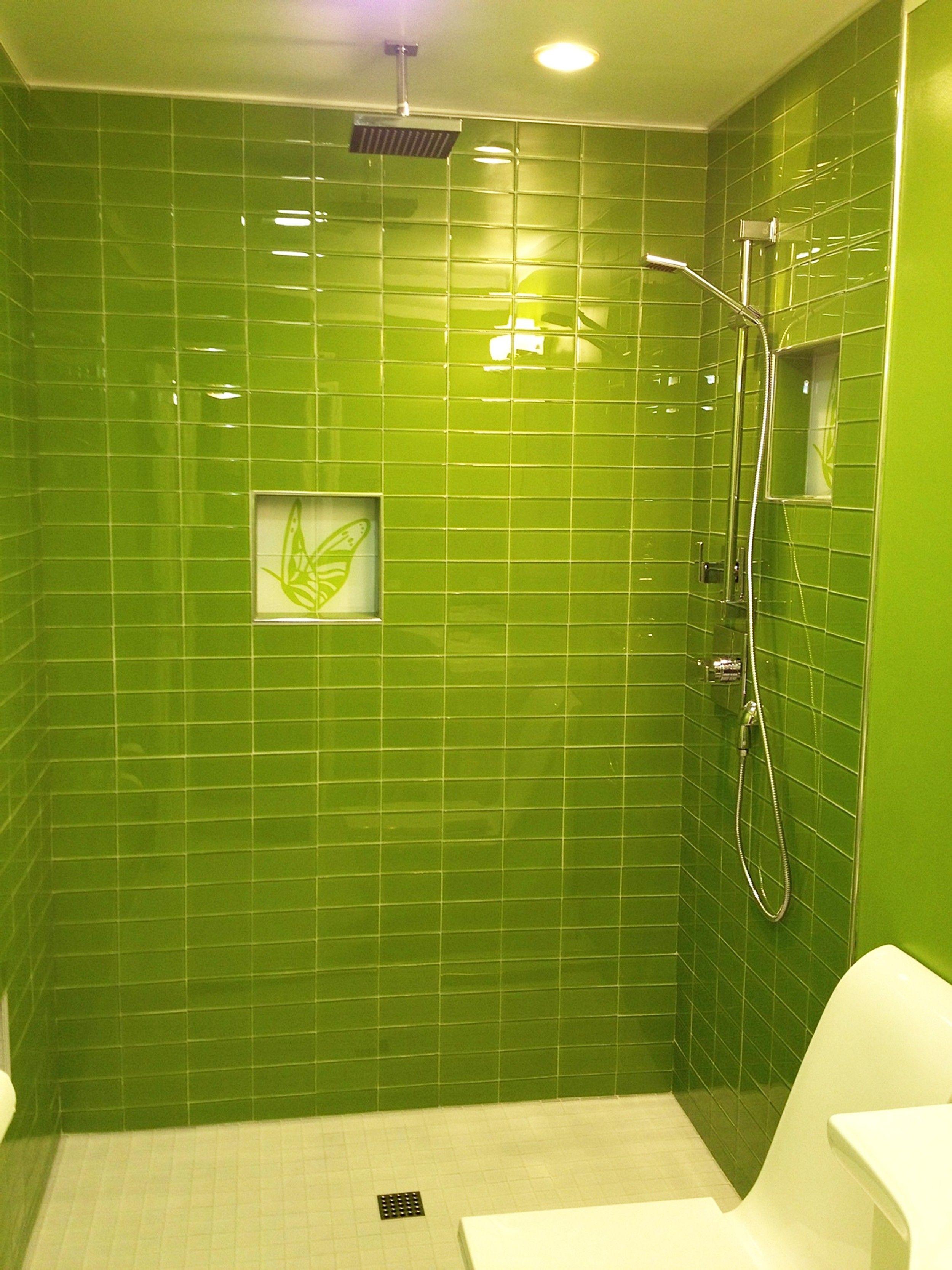 Lush Lemongrass 3x6 Green Glass Subway Tile Shower Installation