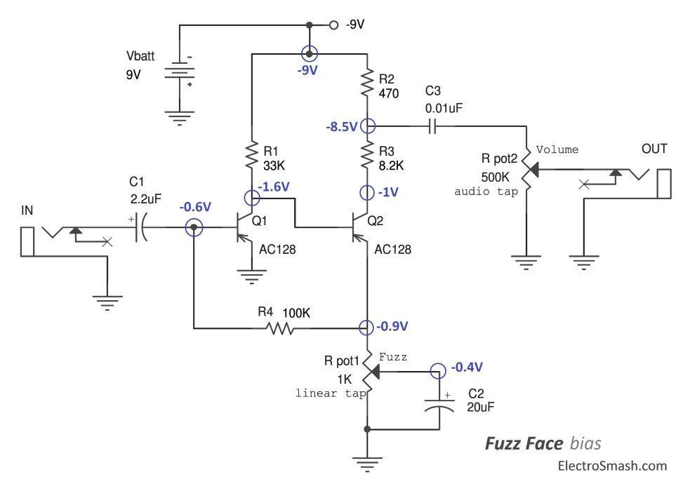 fuzz face bias circuit diy electronics in 2018 pinterest rh pinterest com