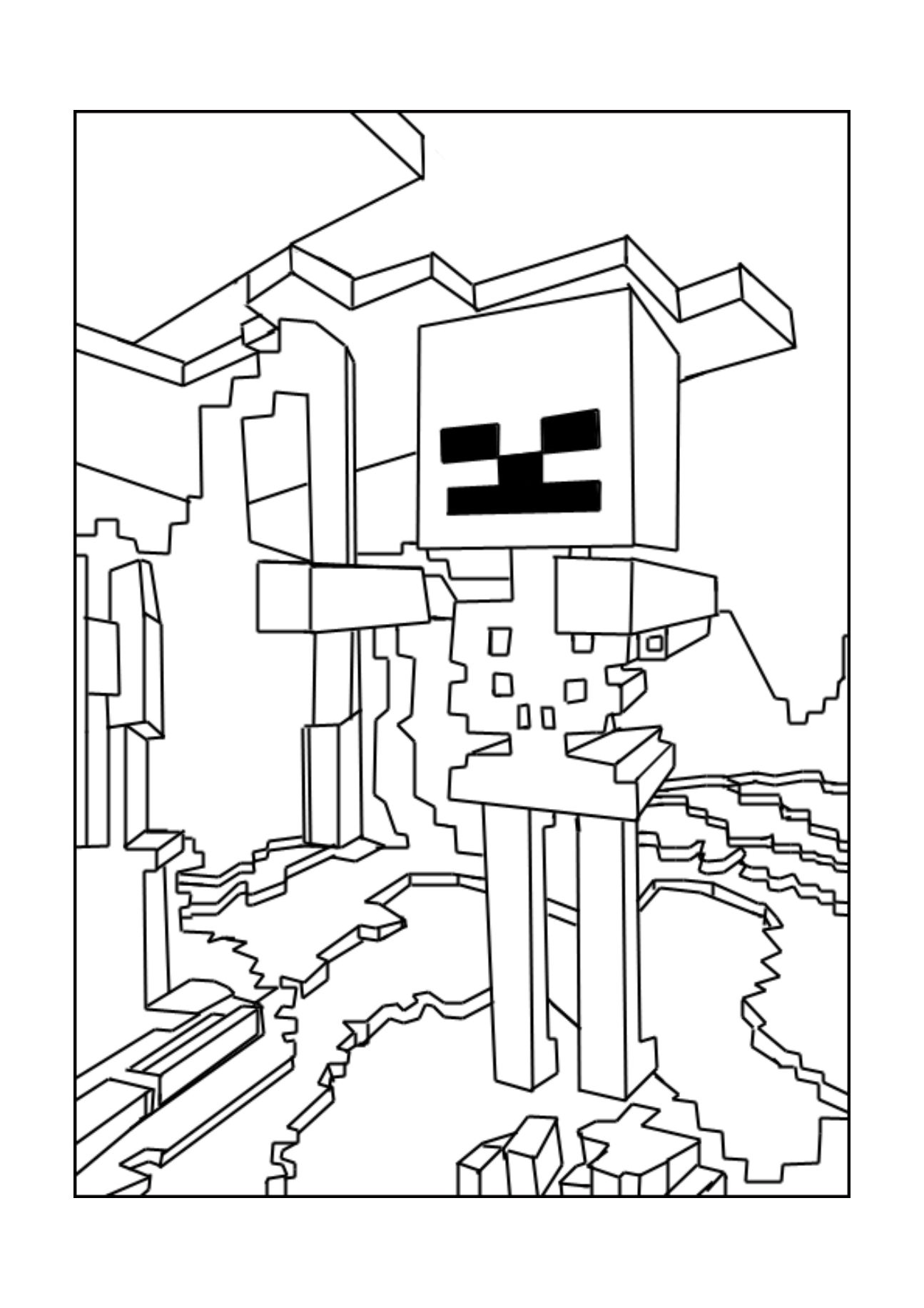 A Minecraft Skeleton Coloring Page Minecraft Party Pinterest