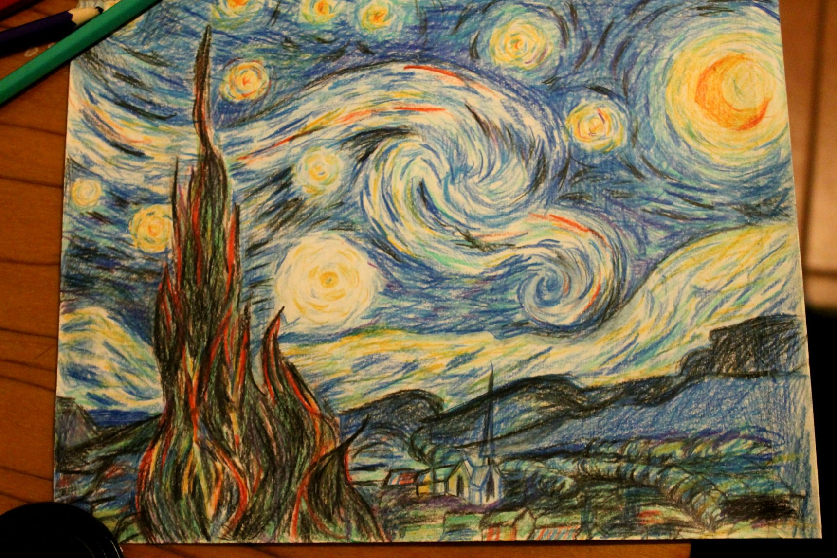 My Version Of Starry Night Vincent Van Gogh Colored Pencils