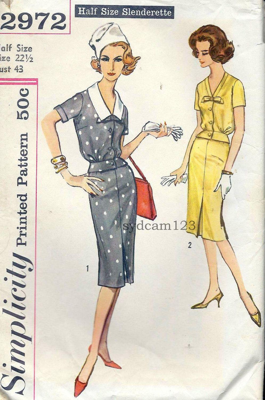 Vintage 1959 Two Piece Dress Detachable Collar...Button Front Blouson...Simplicity 2972 Bust 43. $12.00, via Etsy.