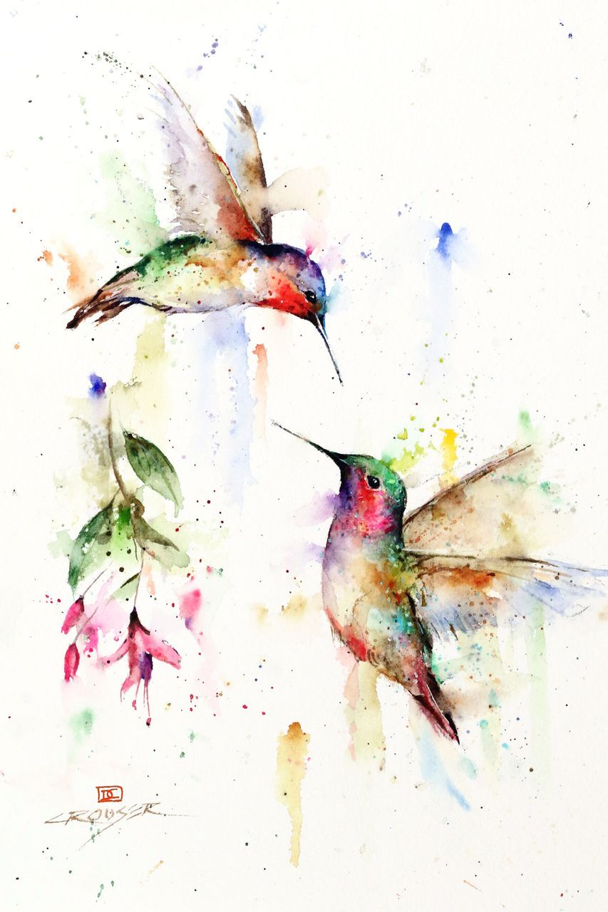 Hummingbird and Flower Watercolor Print Painting by Dean Crouser