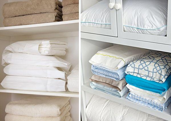Guarde os lençóis dentro de fronhas para facilitar guardá-los e achá-los