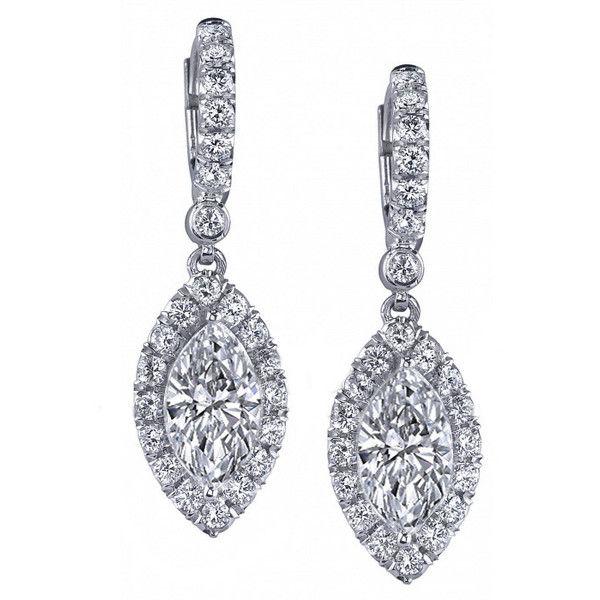 Diamond Earrings Marquise Diamonds Dangling Halo Eamq1 40 835 Mxn Liked On Polyvore Featuring Jewelry Dangle Hoop Earri