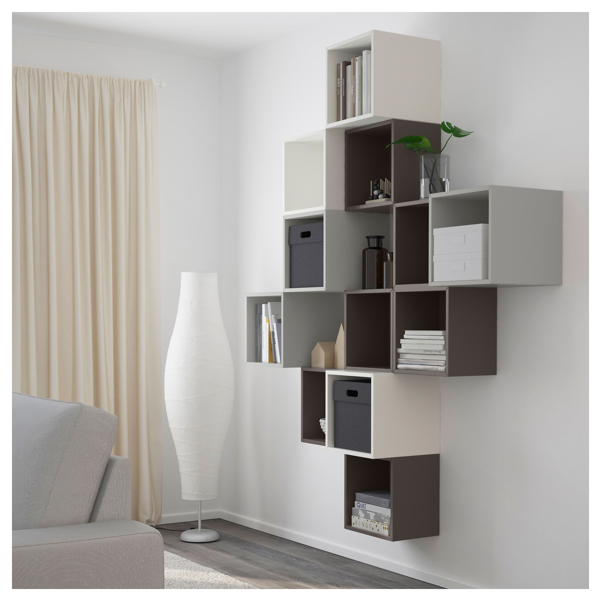 Besta Ikea Wandmontage Eket Wall Mounted Cabinet Combination White Dark Grey Light Grey