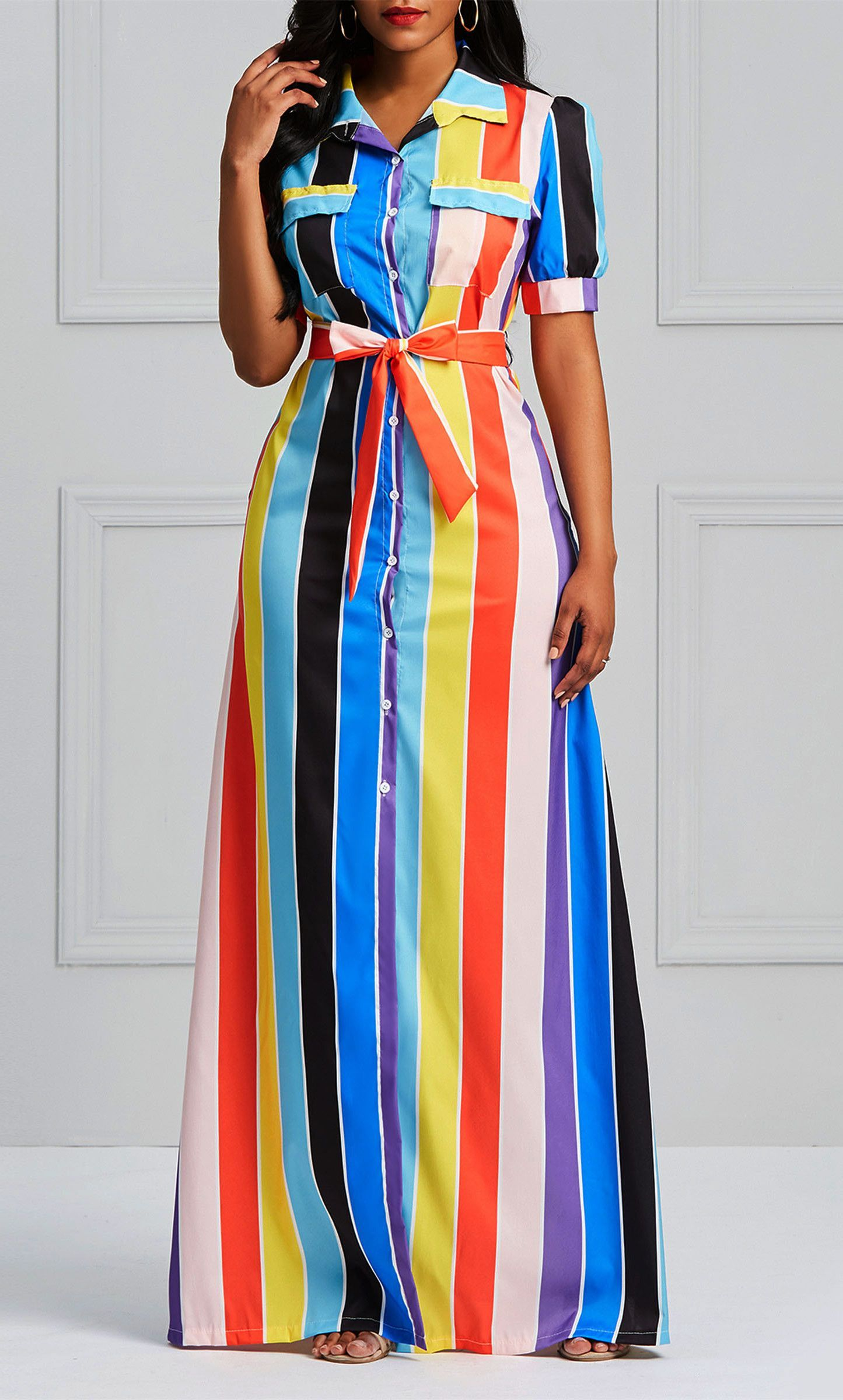 533c0bcecf8 Color Block Western Pocket Women s Maxi Dress in 2019